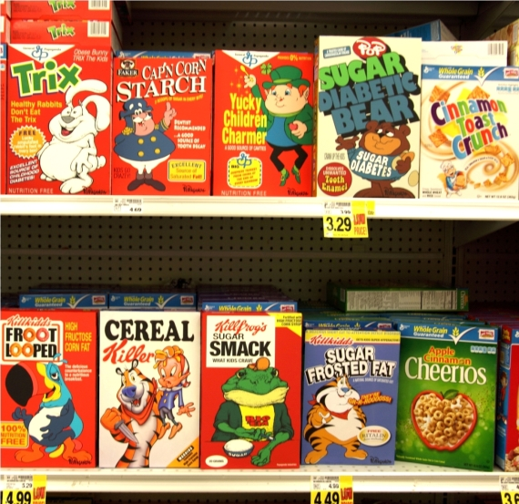 cereal boxes on shelf LA SM_1 ron english street art