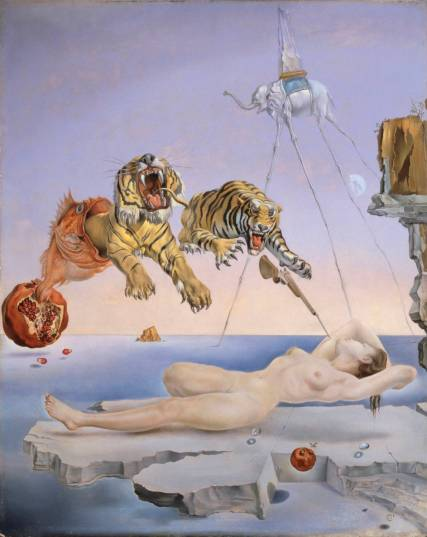 Salvador-Dali-Dream-Caused-by-the-Flight-of-a-Bee-around-a-Pomegranate-a-Second-Before-Awakening-1944